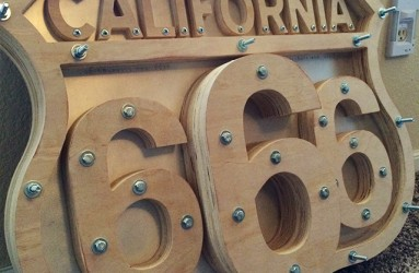 CNC routed wooden sign and hardware
